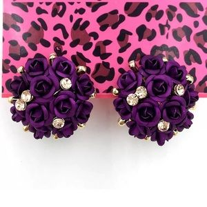 Purple Flowers Bouquet Earrings